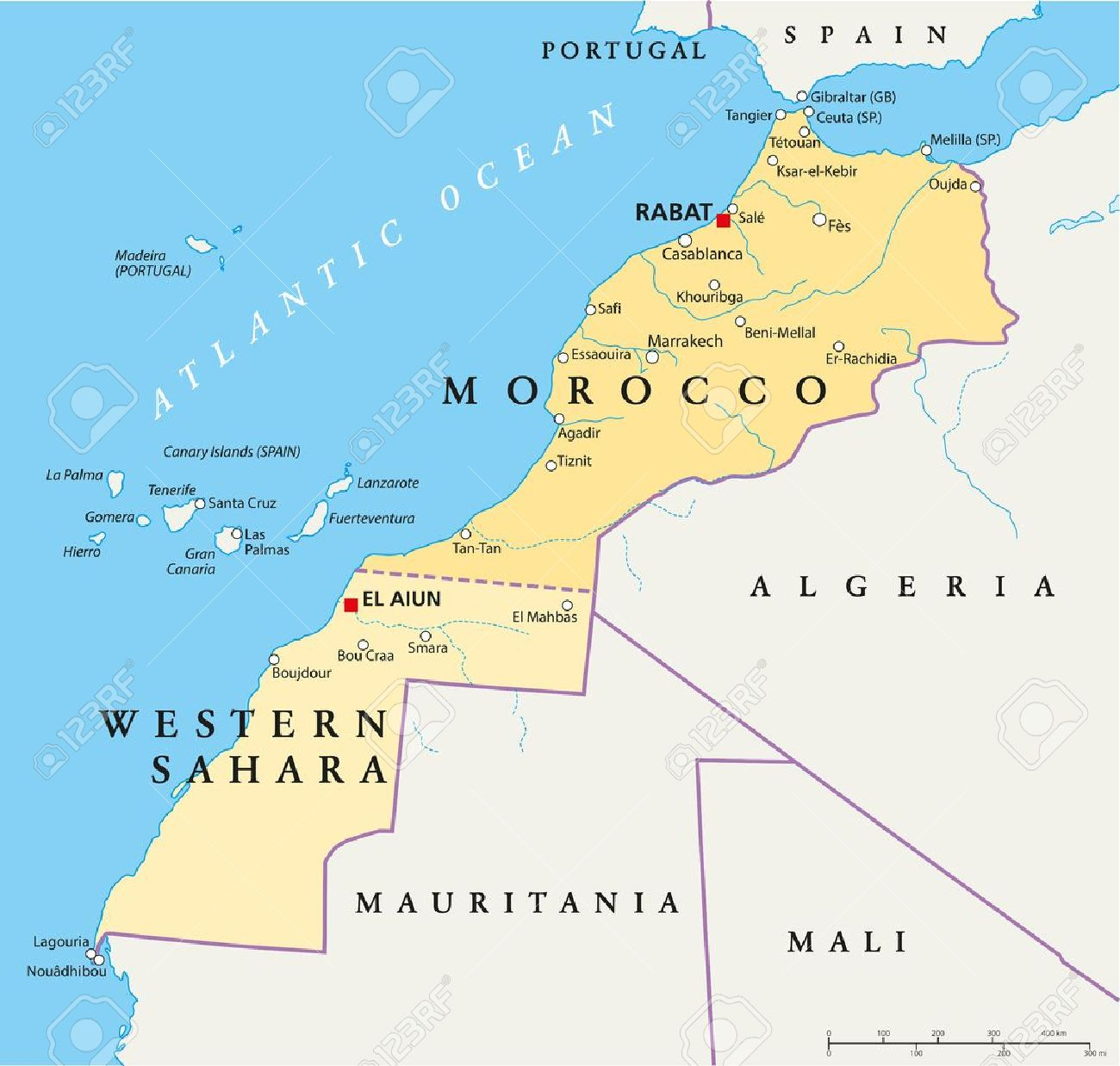 Map Of Spain Morocco.Morocco And Western Sahara Political Map