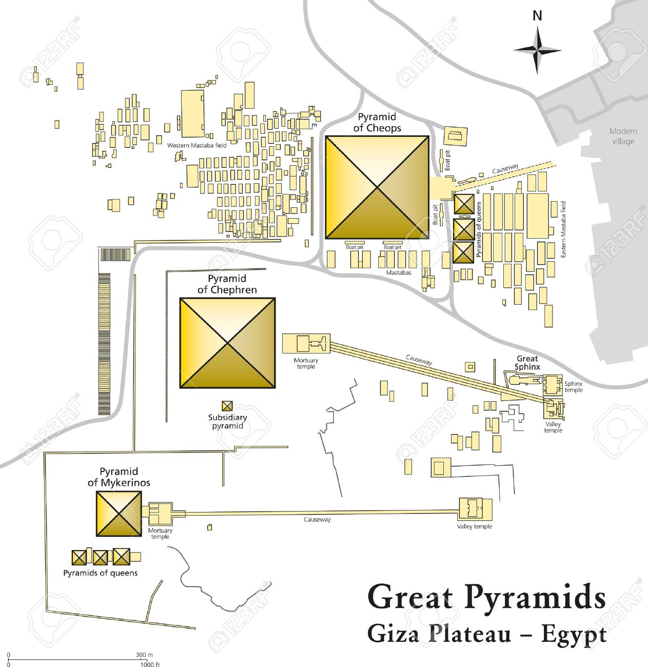 Egypt Pyramids Of Giza Map Royalty Free Cliparts Vectors And - Map of egypt pyramids and sphinx