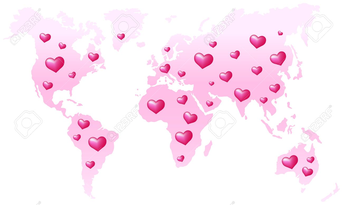 Global peace pink world map which is dotted with hearts global peace pink world map which is dotted with hearts isolated vector on white publicscrutiny Image collections