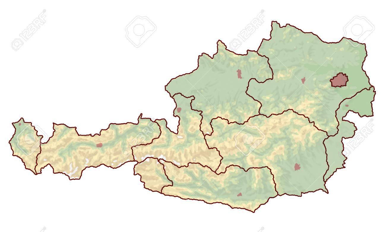 Topographic Map Of Austria In Europe Which Is Not Labeled However