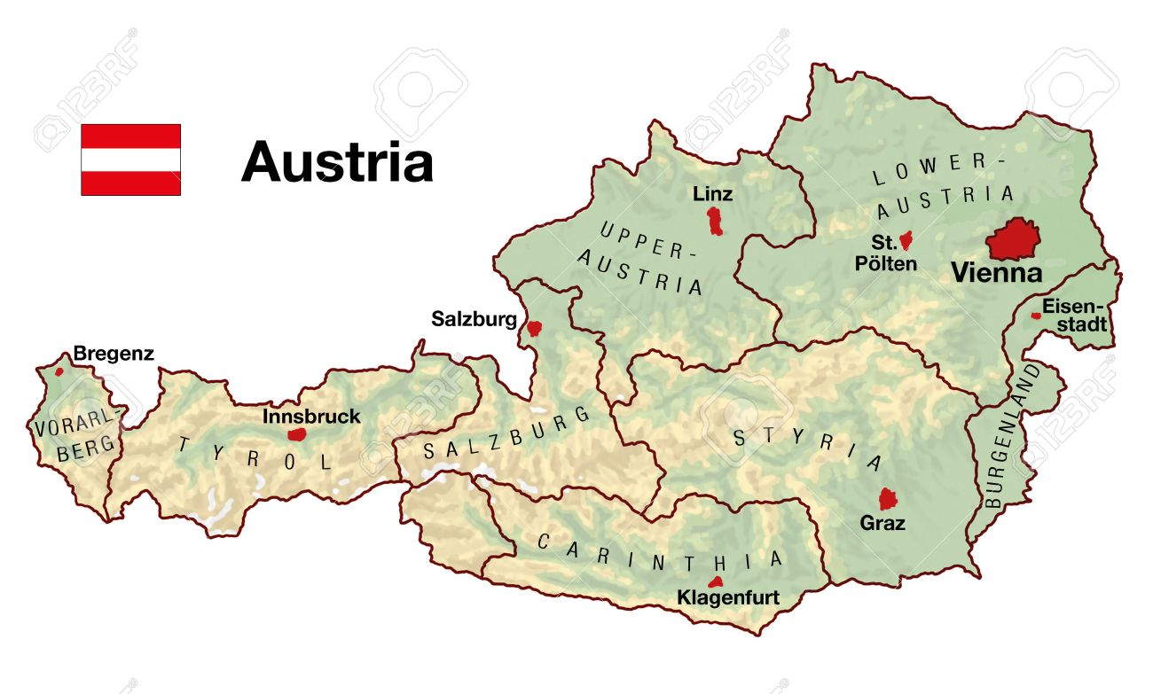 Topographic Map Of Austria In Europe With Cities Federal States Borders And Flag Stock