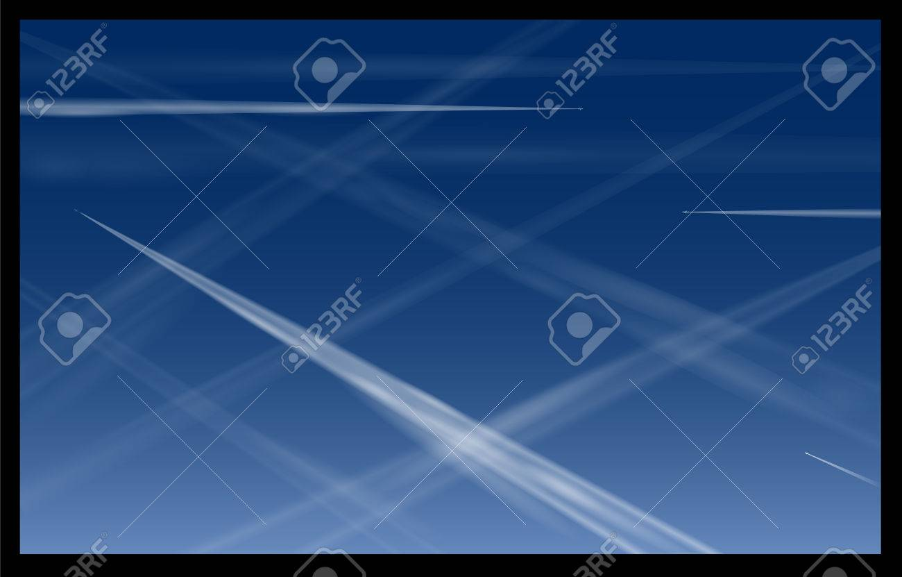 Airplane Contrails Blue Sky Stock Vector - 24541210