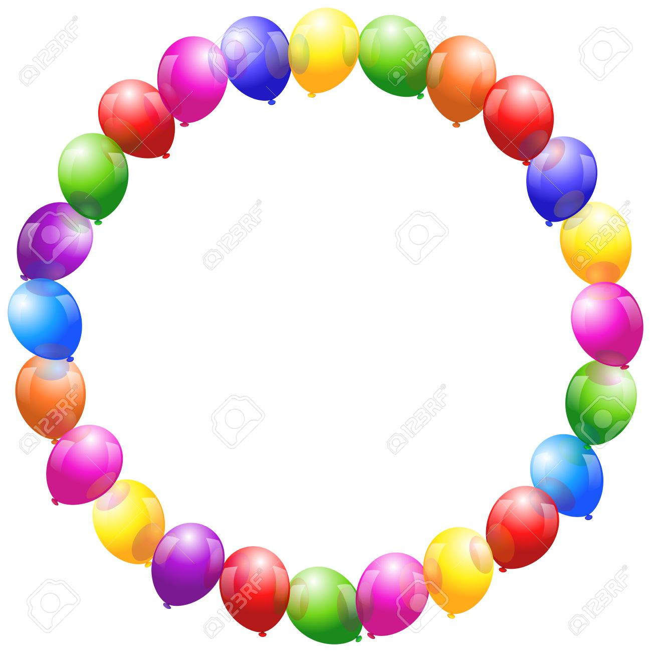 Colorful glossy balloons that form a circular frame - 25331719