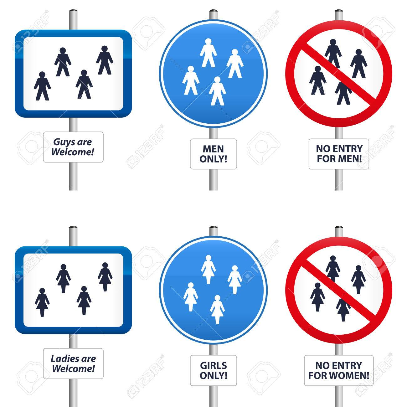 Six signs, that welcome men and women or that try to keep them away  The text in the signs can be changed Stock Vector - 25462565