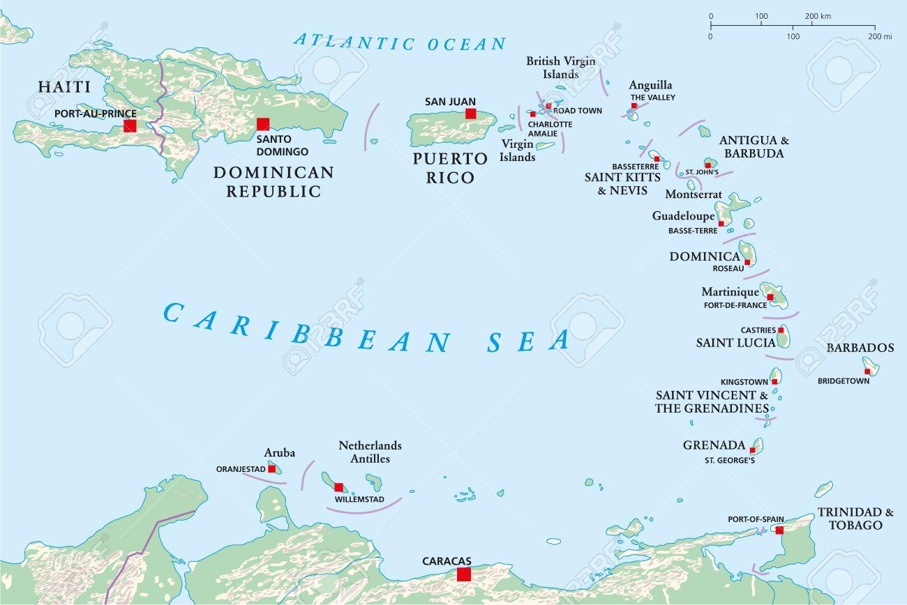 Politische Karte Der Kleinen Antillen Haiti Und Der Dominikanischen