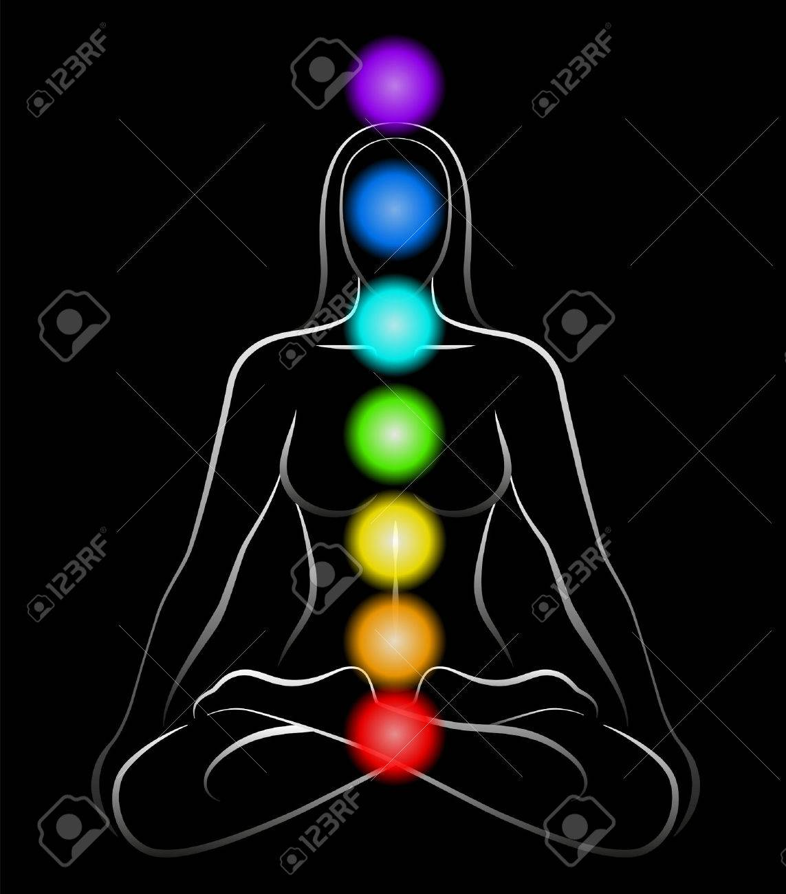 Illustration of a meditating woman in yoga position with the seven main chakras  Black background Stock Vector - 27328490