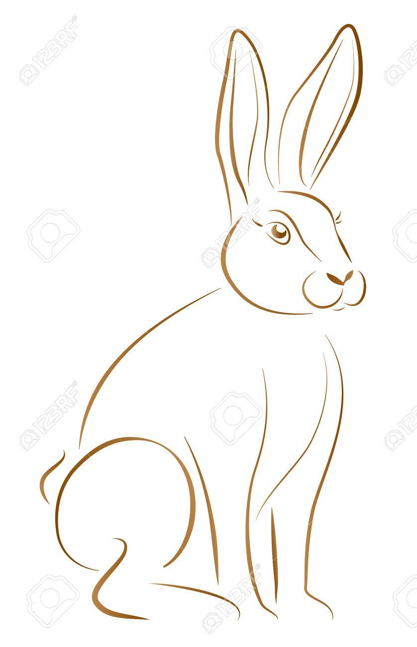outline illustration of a sitting rabbit with big ears royalty