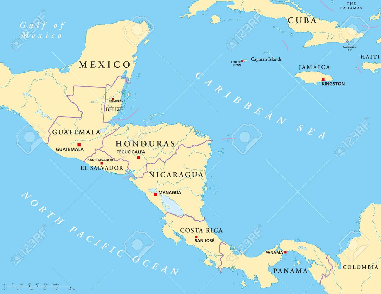 Central America Political Map Royalty Free Cliparts, Vectors, And ...