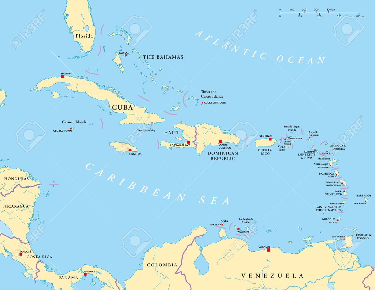 Caribbean Large And Lesser Antilles Political Map Royalty Free - Political map of barbados