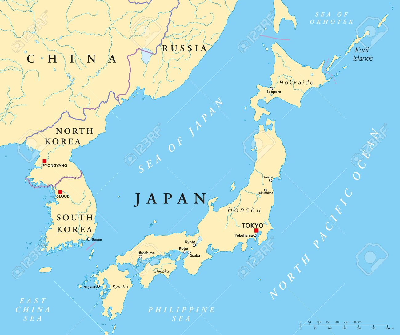 Japan North Korea And South Korea Political Map Royalty Free