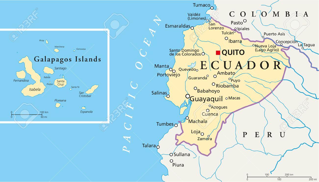 Ecuador And Galapagos Islands Political Map Royalty Free Cliparts