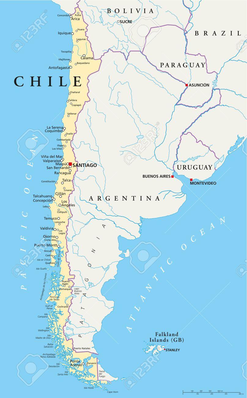 Mapa De Chile Politico Editorial Compass