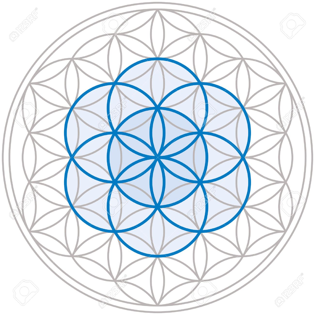 Seed of Life in the center of the Flower of Life, a geometrical figure, composed of multiple evenly-spaced, overlapping circles, forming a flower-like pattern Banque d'images - 27773456