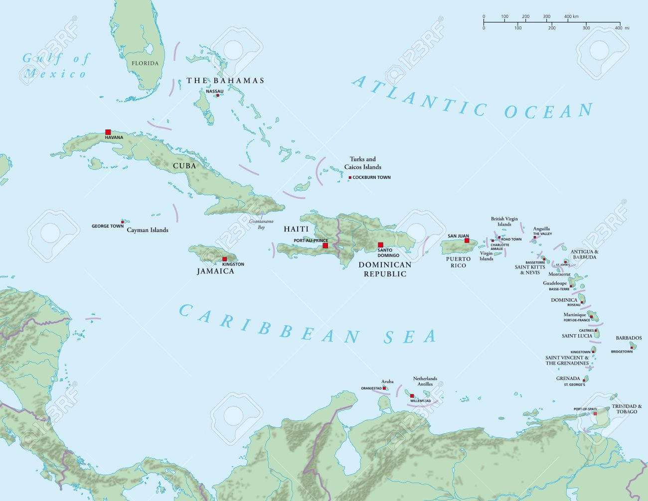 Caribbean Large And Lesser Antilles Political Map Stock Photo - Political map of barbados