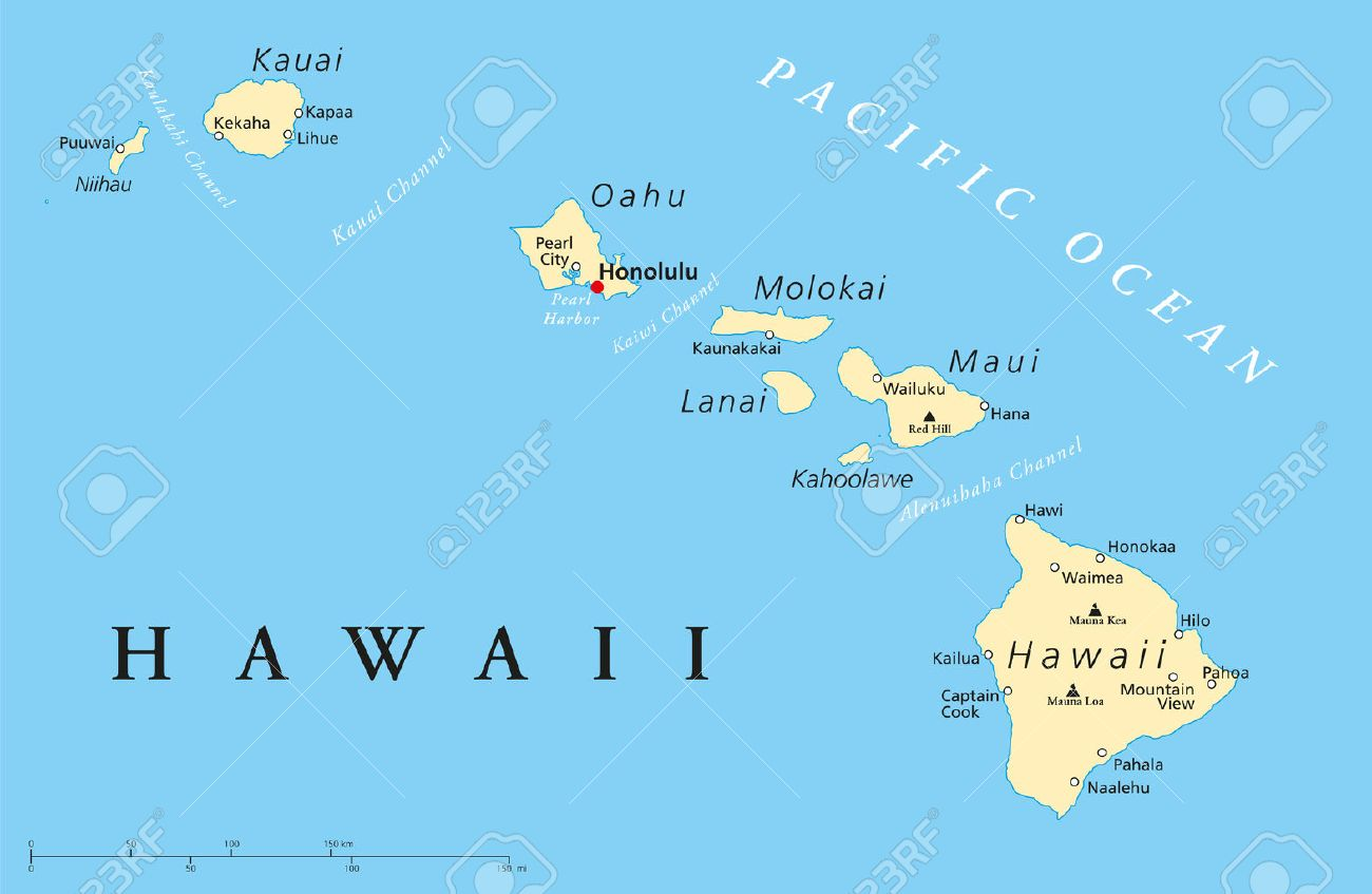 Political Map Of Hawaii Islands With The Capital Honolulu With - Map of hawaiian islands