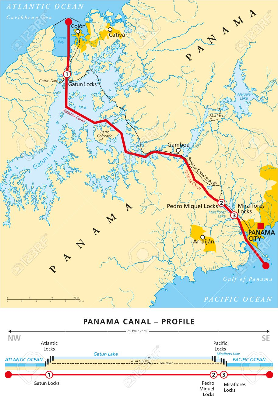 Political Map Of Panama Canal With Crosssection Cities Rivers - Picture of map of united states with rivers and lakes labeled