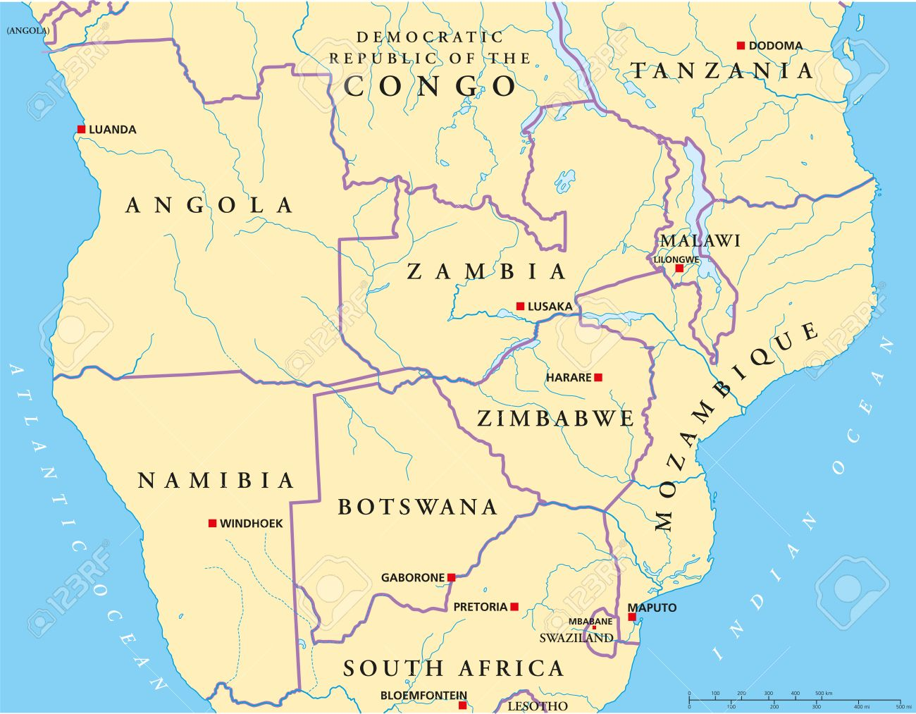 South Africa Map Capitals.Political Map Of South Central Africa With Capitals National
