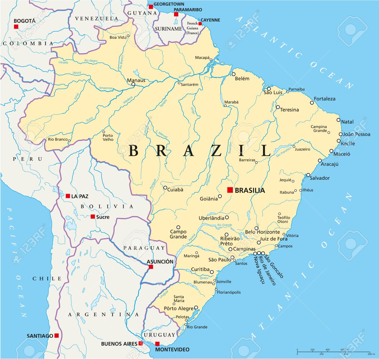 Brazil Political Map With Capital Brasilia National Borders