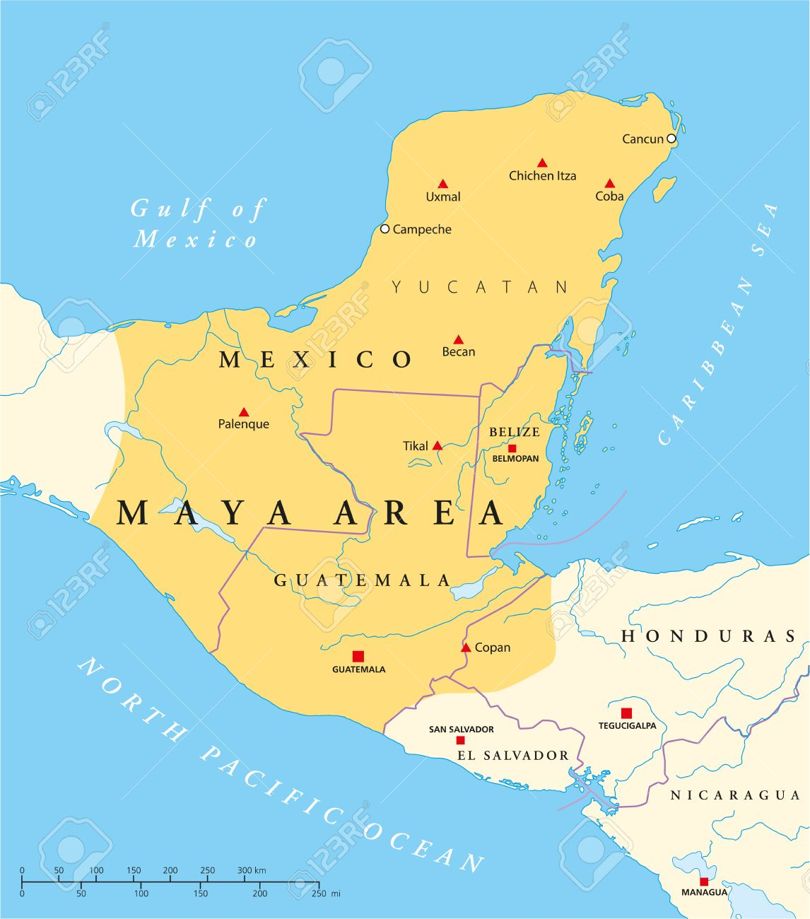 Maya High Culture Area Map  Classic And Postclassic Maya Civilization In  Mesoamerica Political