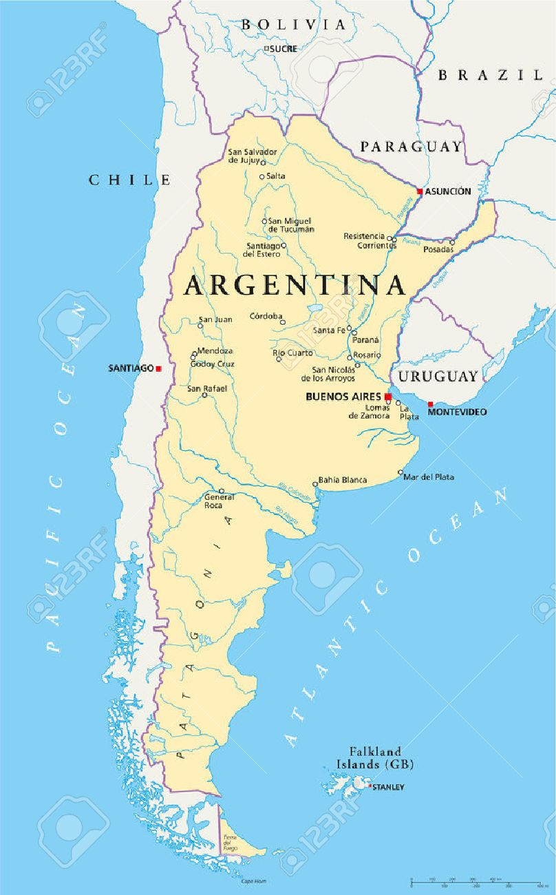Argentina Political Map With Capital Buenos Aires National - Argentina map rivers