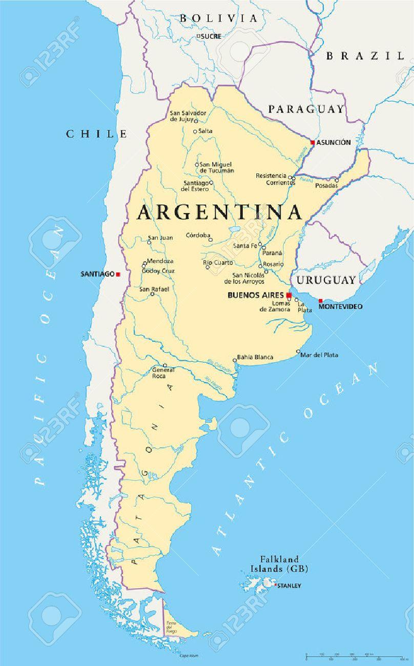 buenos aires karte Argentinien Politische Karte Mit Hauptstadt Buenos Aires, Die
