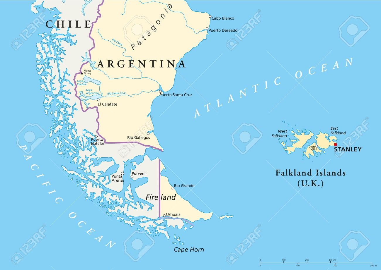 Falkland Islands Policikal Map And Part Of South America With