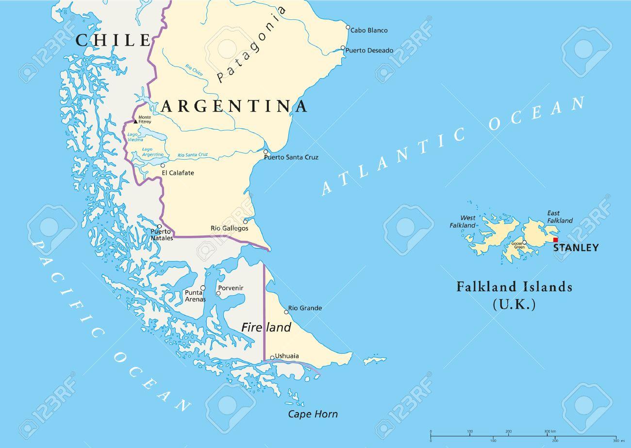 Islas Malvinas Mapa Mundi.Islas Malvinas Policikal Mapa Y Parte De America Del Sur Con Las Fronteras Nacionales Las Ciudades Mas Importantes Rios Y Lagos