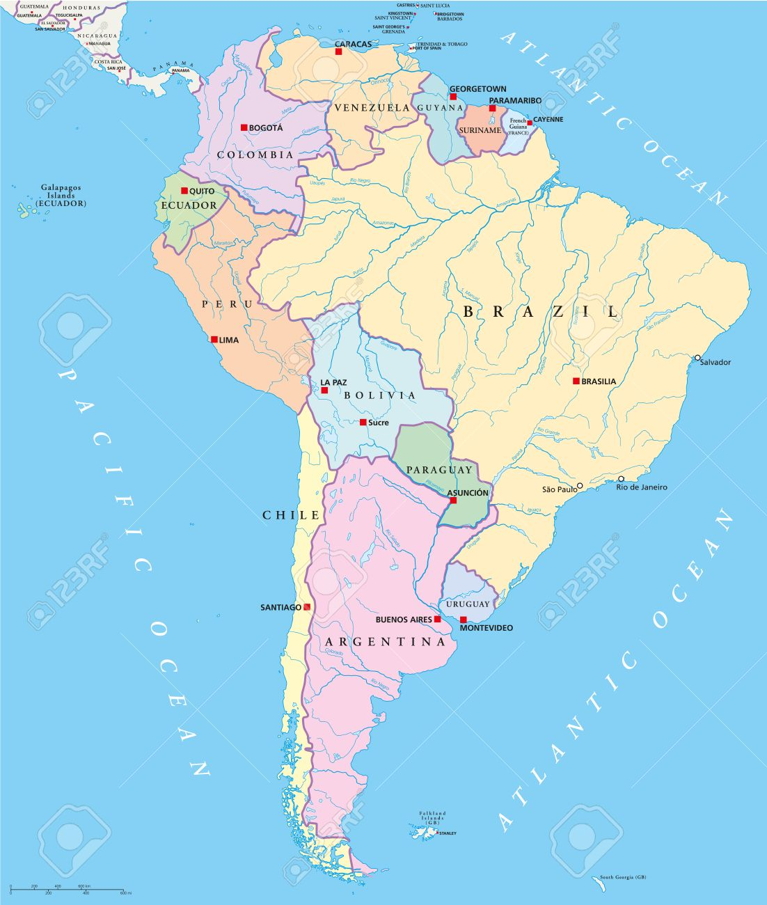 South America Map States And Capitals.South America Single States Map With Single States Capitals