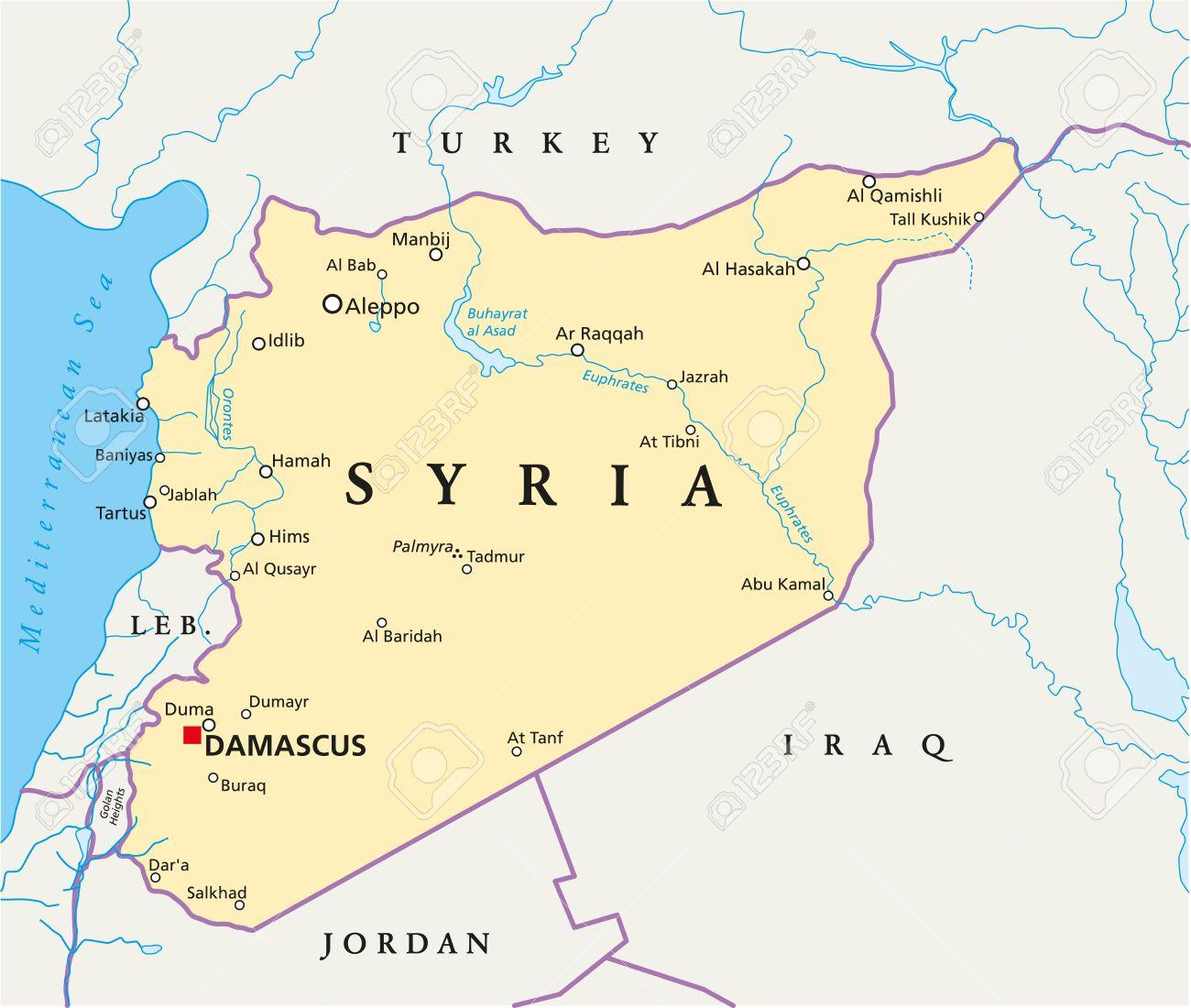 Siria Mapa Político Con Capital Damasco Las Fronteras Nacionales