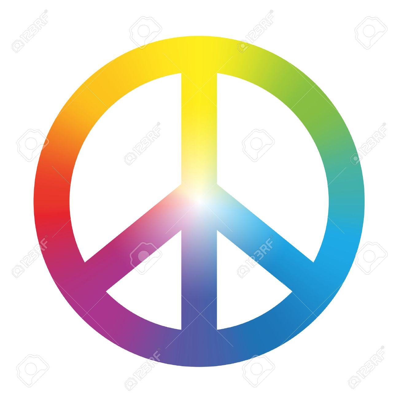 Free printable coloring pages peace sign - Peace Sign Peace Symbol With Circular Rainbow Gradient Coloring Isolated Vector Illustration On White Background