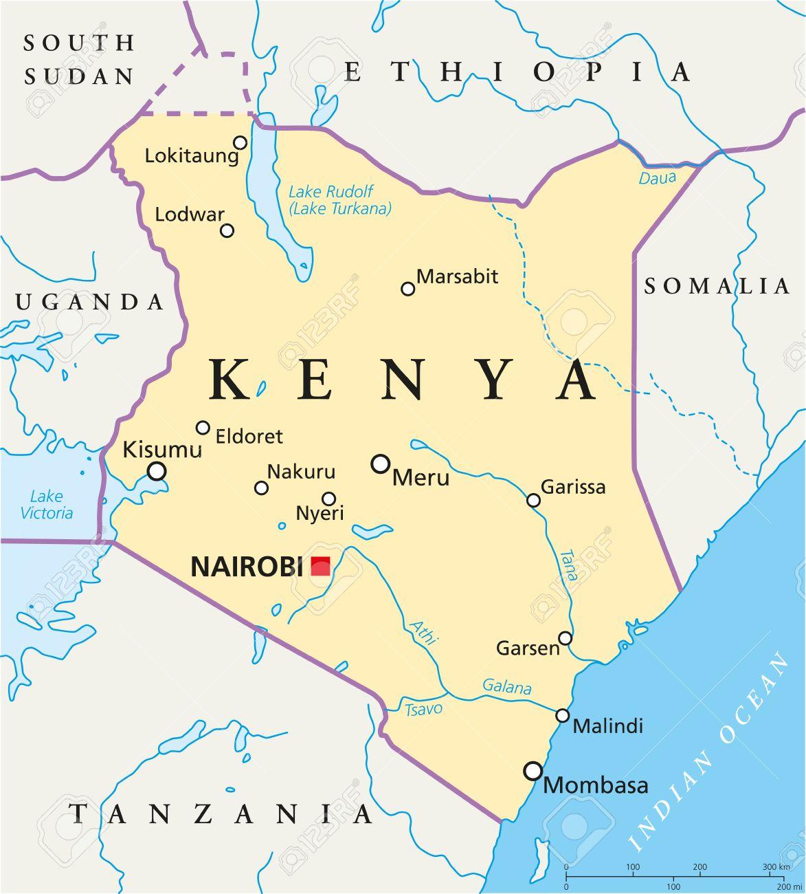 Kenya Political Map With Capital Nairobi National Borders Most - Kenya rivers map
