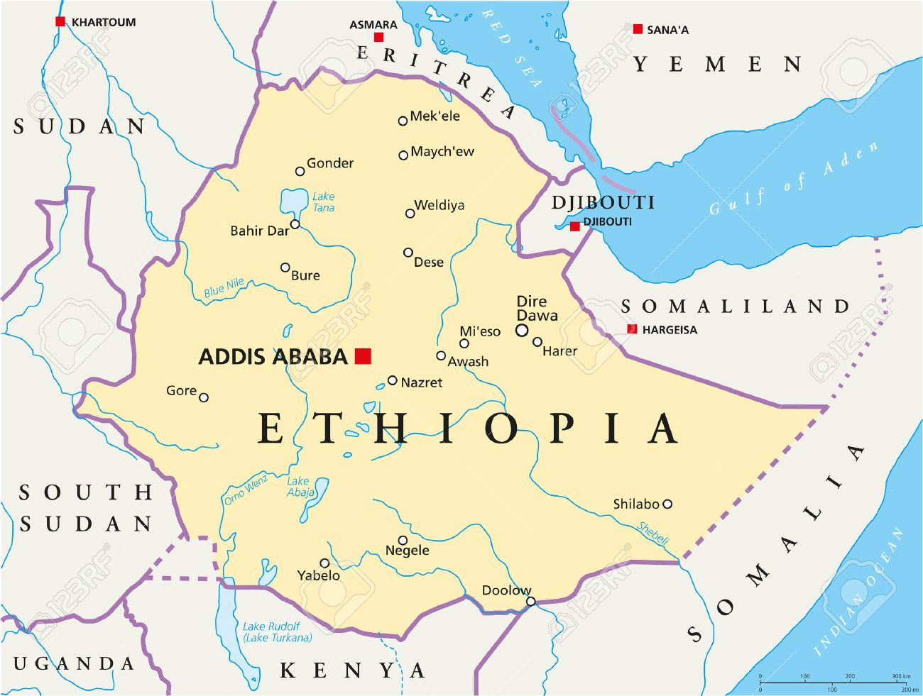 Ethiopia Political Map With Capital Addis Ababa, National Borders ...