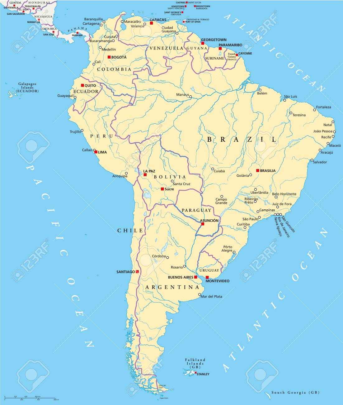 Carte Amerique Du Sud Avec Capitale.Amerique Du Sud Carte Politique Avec Des Etats Des Capitales Les Villes Les Plus Importantes Les Frontieres Nationales Les Lacs Et Les Rivieres