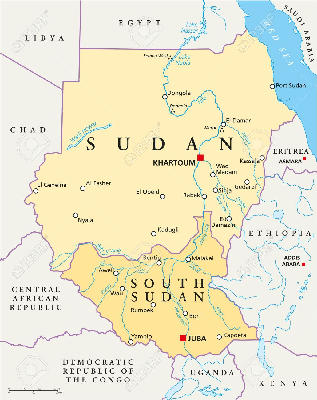 Sudan And South Sudan Political Map With Capitals Khartoum And ...