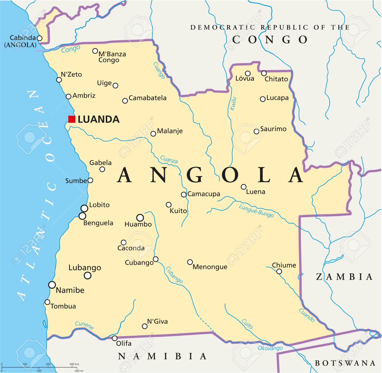 Angola Political Map With Capital Luanda With National Borders