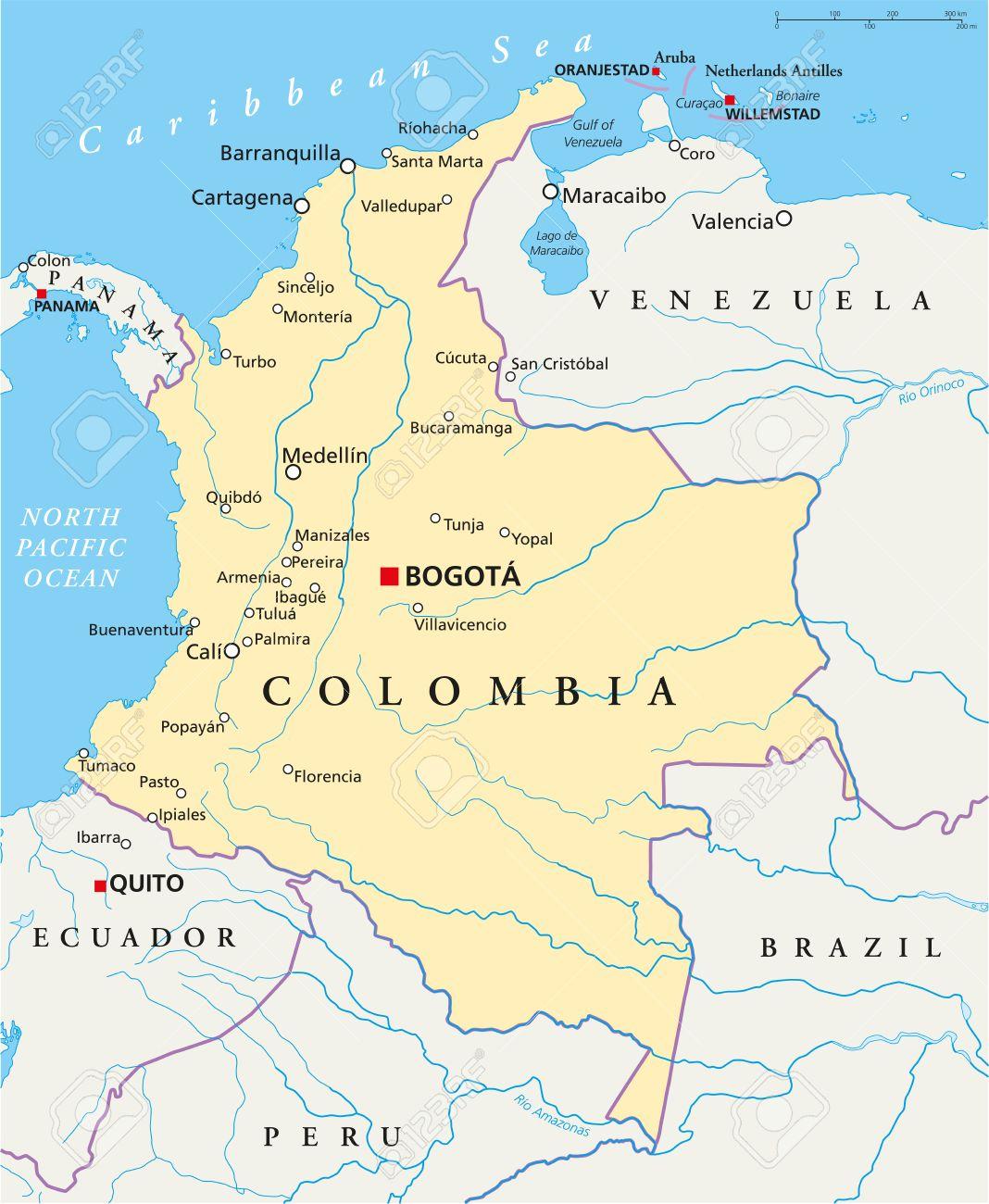 Mapa De Colombia Ciudades.Colombia Mapa Politico Con La Capital Bogota De Las Fronteras Nacionales Las Ciudades Mas Importantes Rios Y Lagos Ilustracion Con Etiquetado