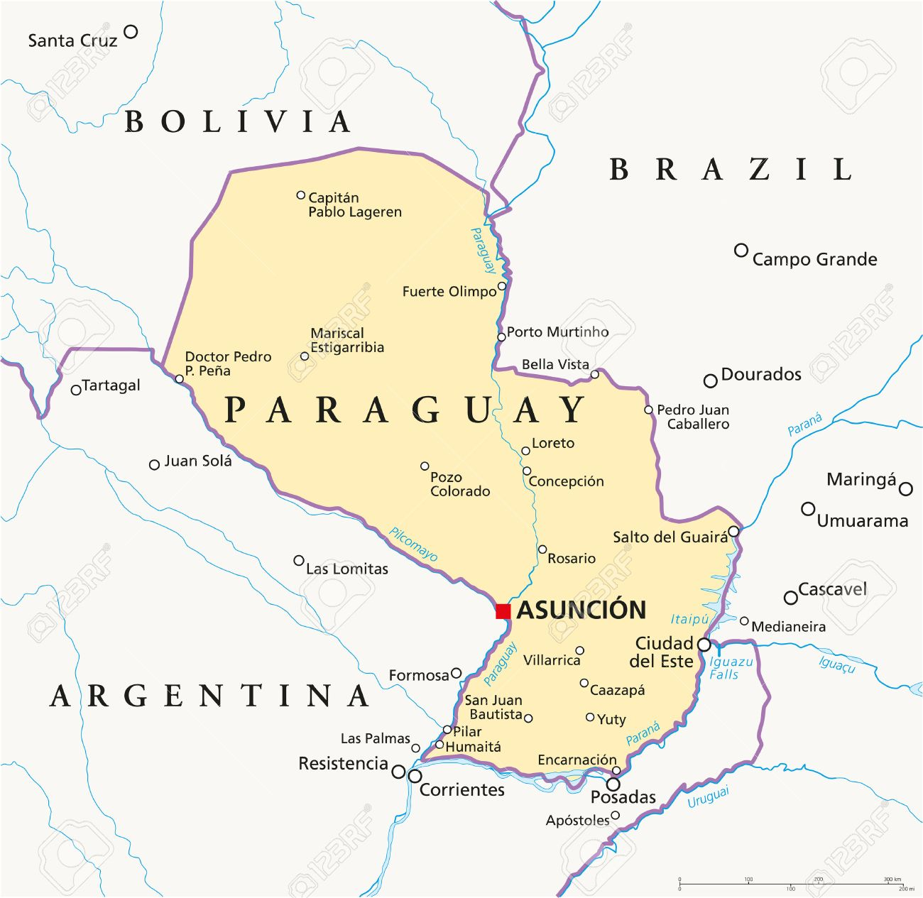 Paraguay Political Map With Capital Asuncion, National Borders ...