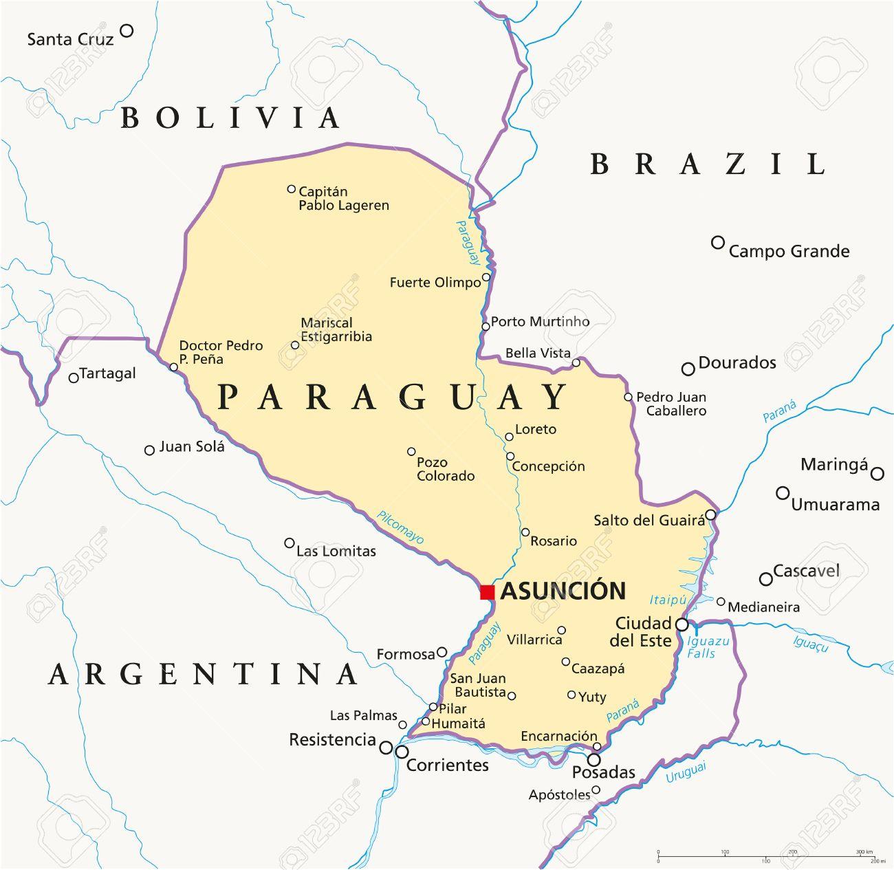 paraguay political map with capital asuncion national borders
