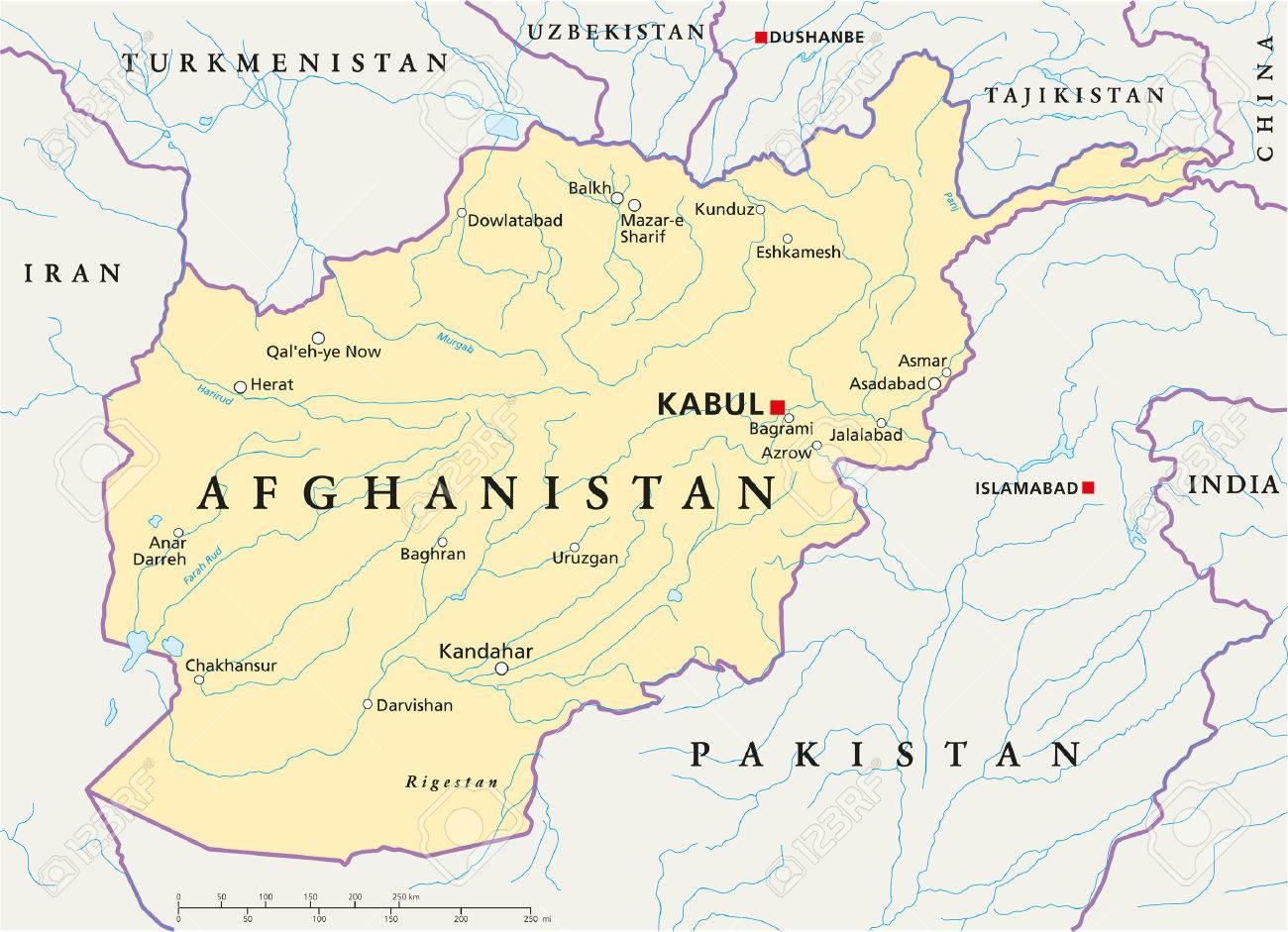 Afghanistan Political Map With Capital Kabul National Borders - Afghanistan political map