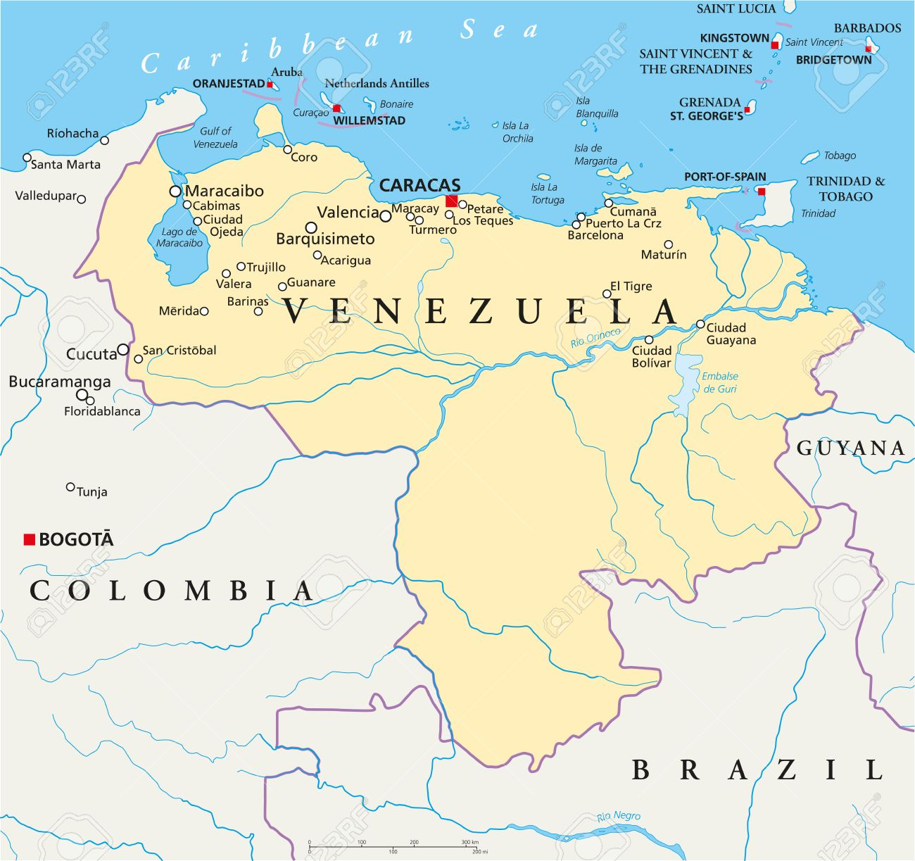 Venezuela Political Map With Capital Caracas With National - Caracas on world map