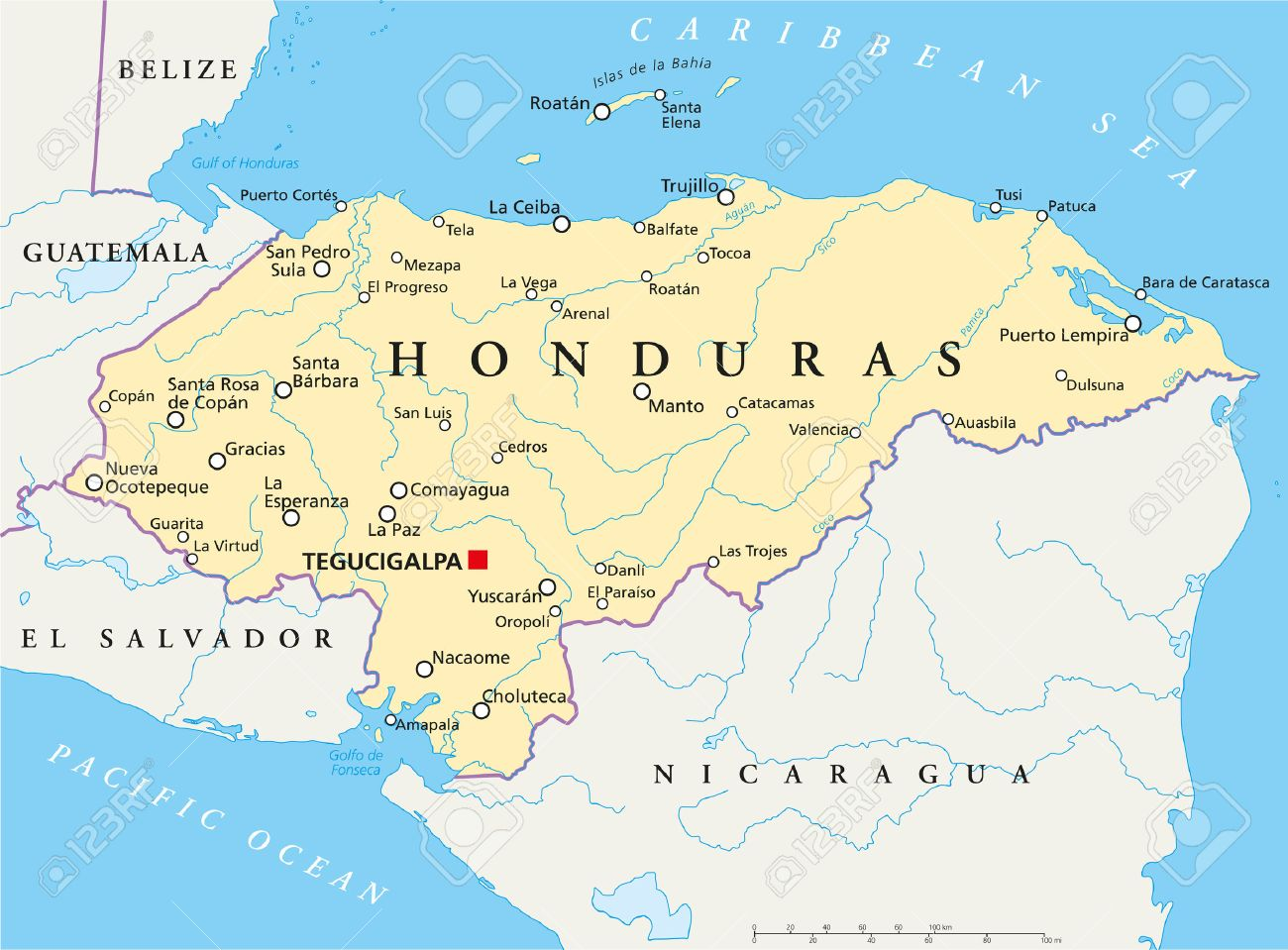 Honduras Political Map With Capital Tegucigalpa With National