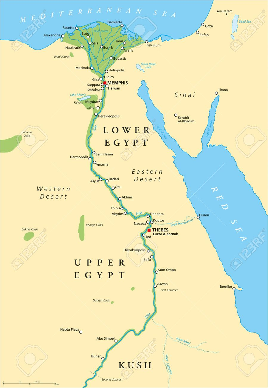 Ancient Egypt Map With Most Important Sights With Rivers And - Map ancient egypt jordan river