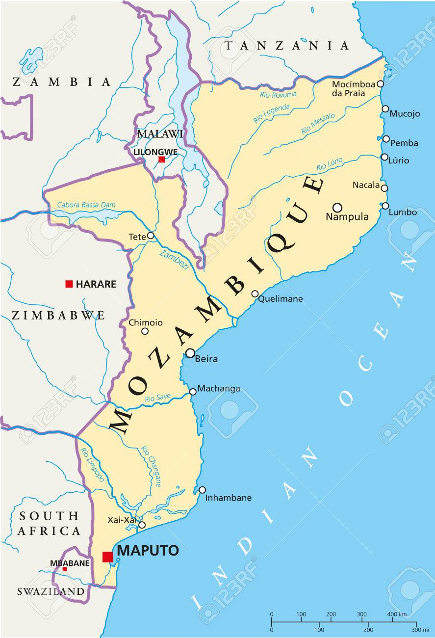 Mozambique Political Map With Capital Maputo With National Borders