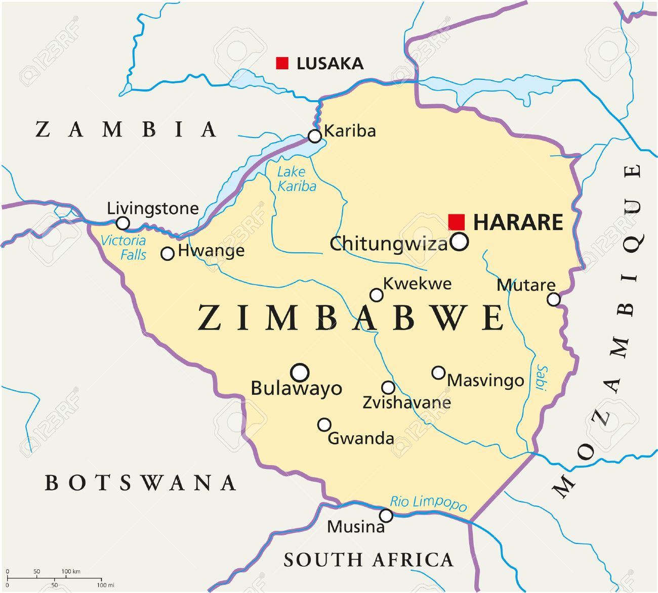 Zimbabwe political map with capital harare with national borders vector zimbabwe political map with capital harare with national borders most important cities rivers and lakes illustration with english labeling and gumiabroncs Choice Image