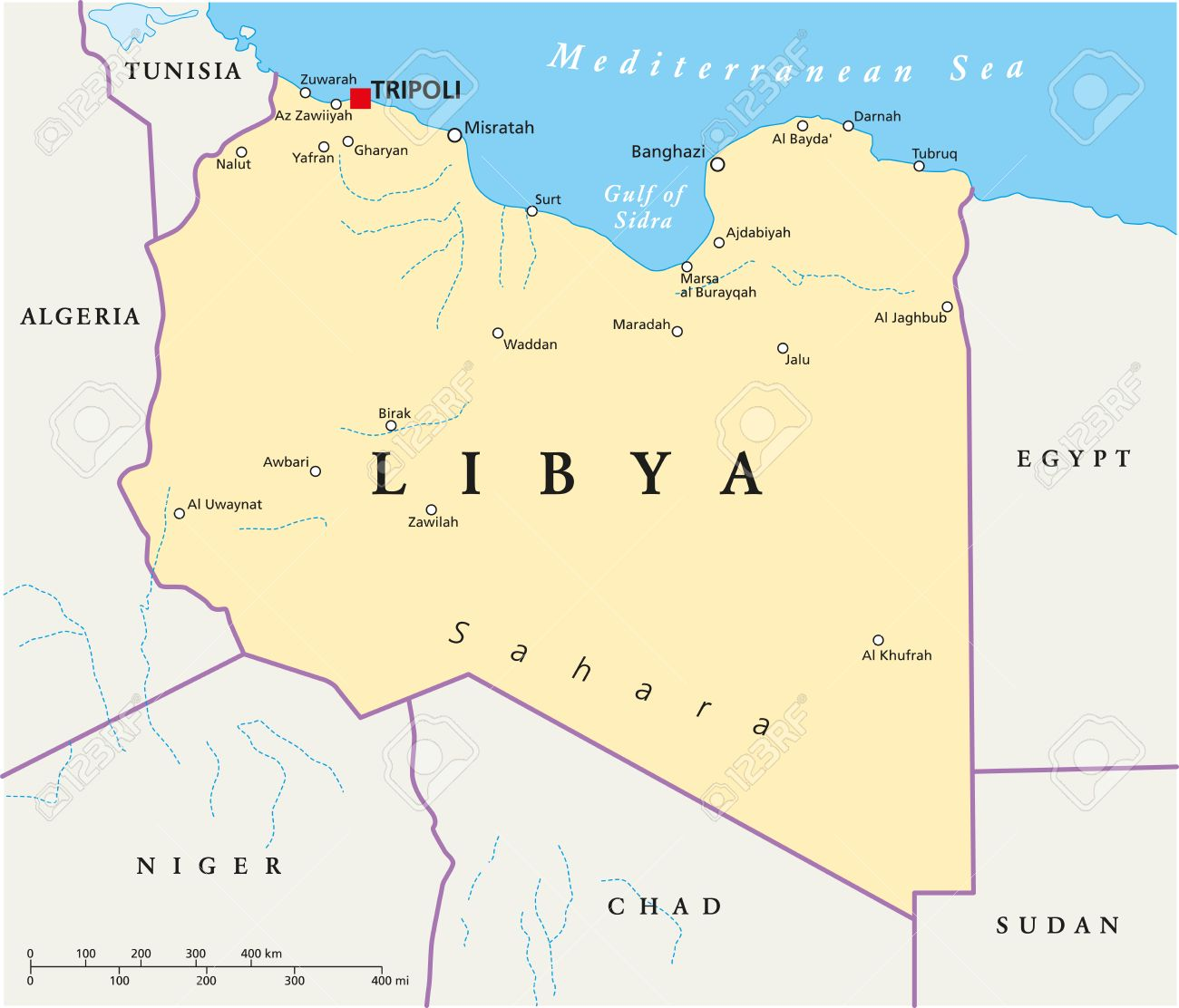 Libya Political Map With Capital Tripoli, With National Borders