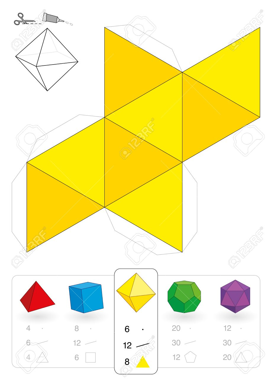 Paper Model Of An Octahedron One Of Five Platonic Solids To Make A