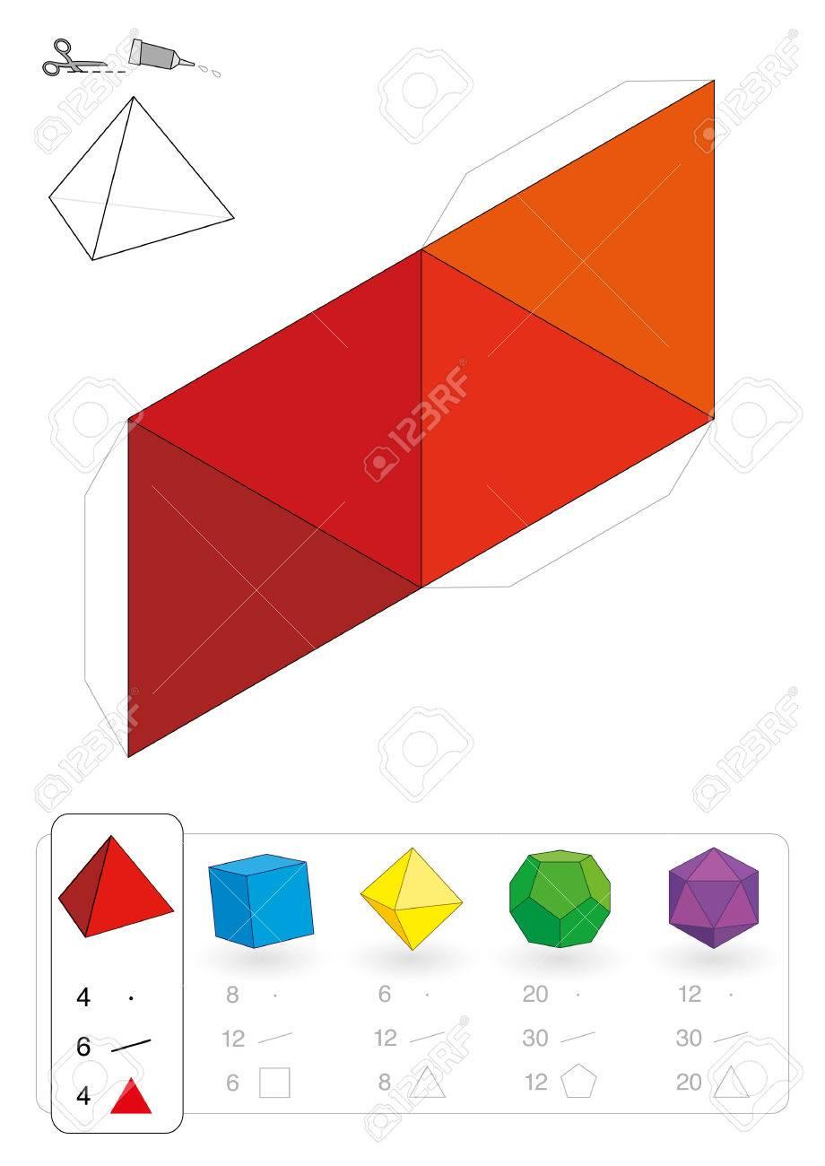 Modelo De Papel De Un Tetraedro, Uno De Los Cinco Sólidos Platónicos ...