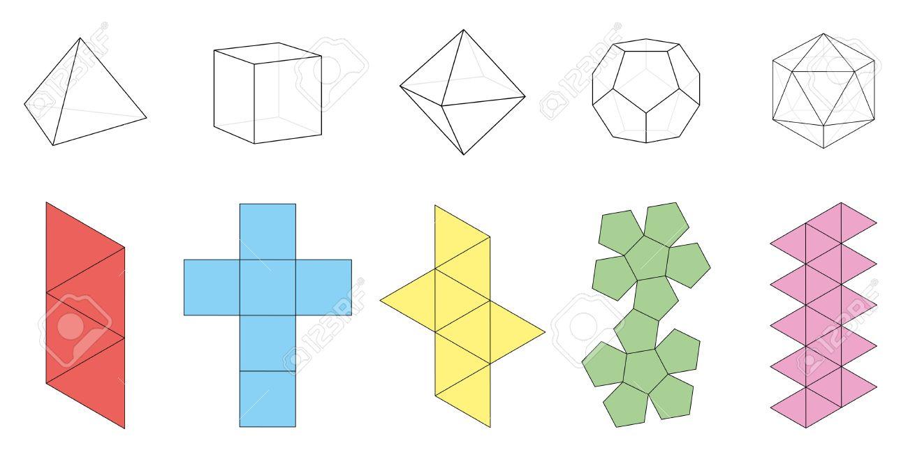 Cinco Sólidos Platónicos, Figuras Tridimensionales Y Sus ...