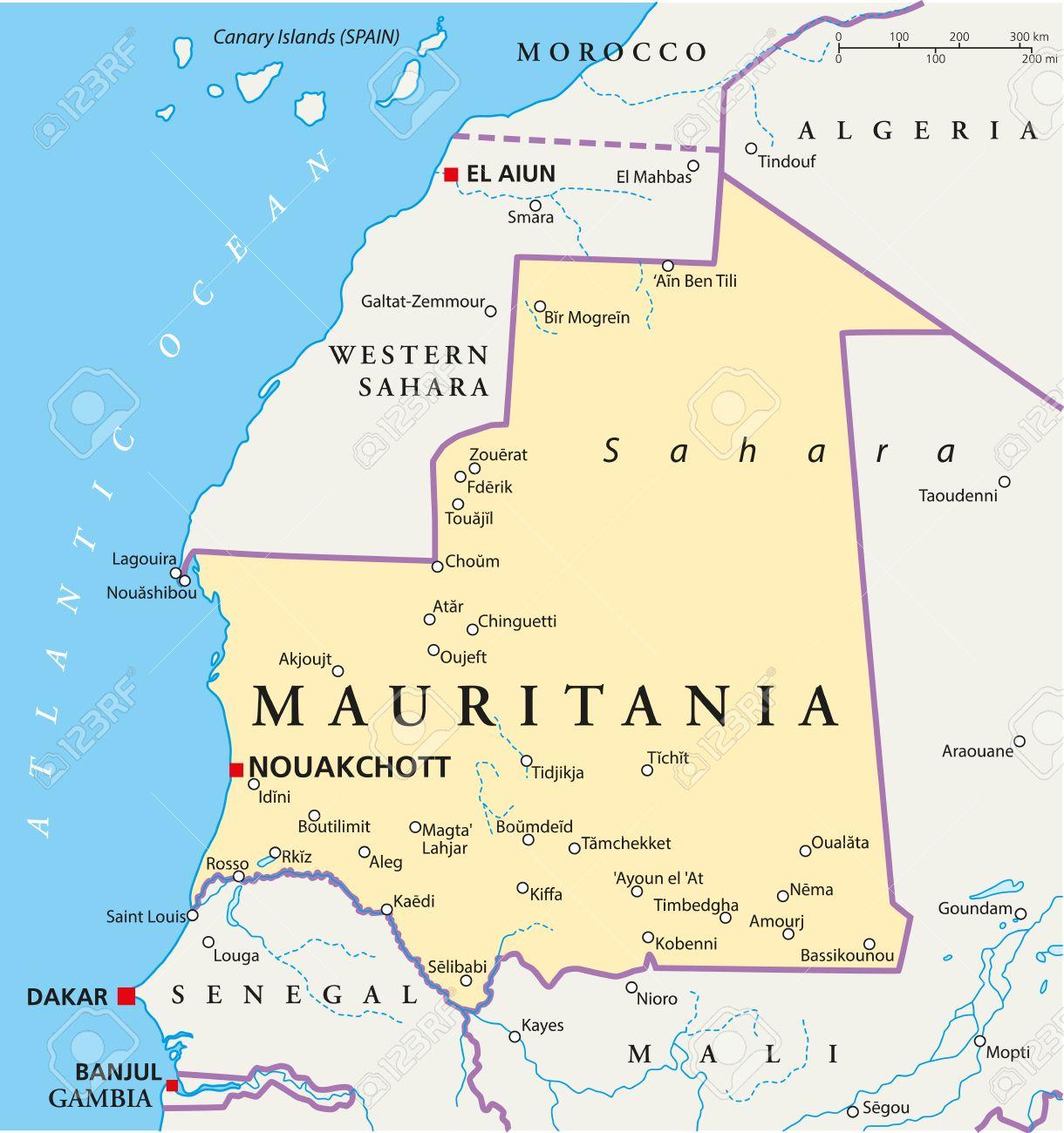Mauretanien Politische Karte Mit Der Hauptstadt Nouakchott Nationale Grenzen Die Wichtigsten Stadte Flusse Und Seen Abbildung Mit Beschriftung Und Skalierung Lizenzfrei Nutzbare Vektorgrafiken Clip Arts Illustrationen Image 31043708