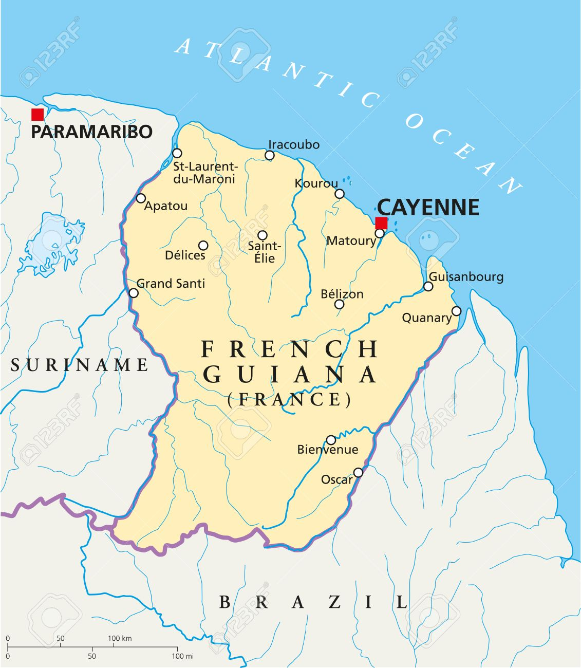 Map Of France With Cities And Rivers.French Guiana Political Map With Capital Cayenne National Borders